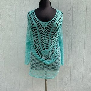 SHORELINE CROCHETED TUNIC TEAL BLUE SIZE 2XL